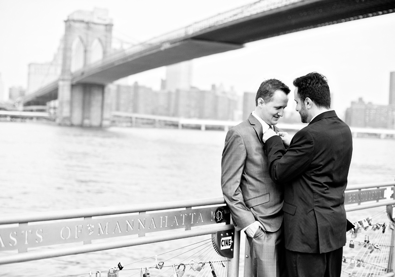 Two Grooms Brooklyn Bridge