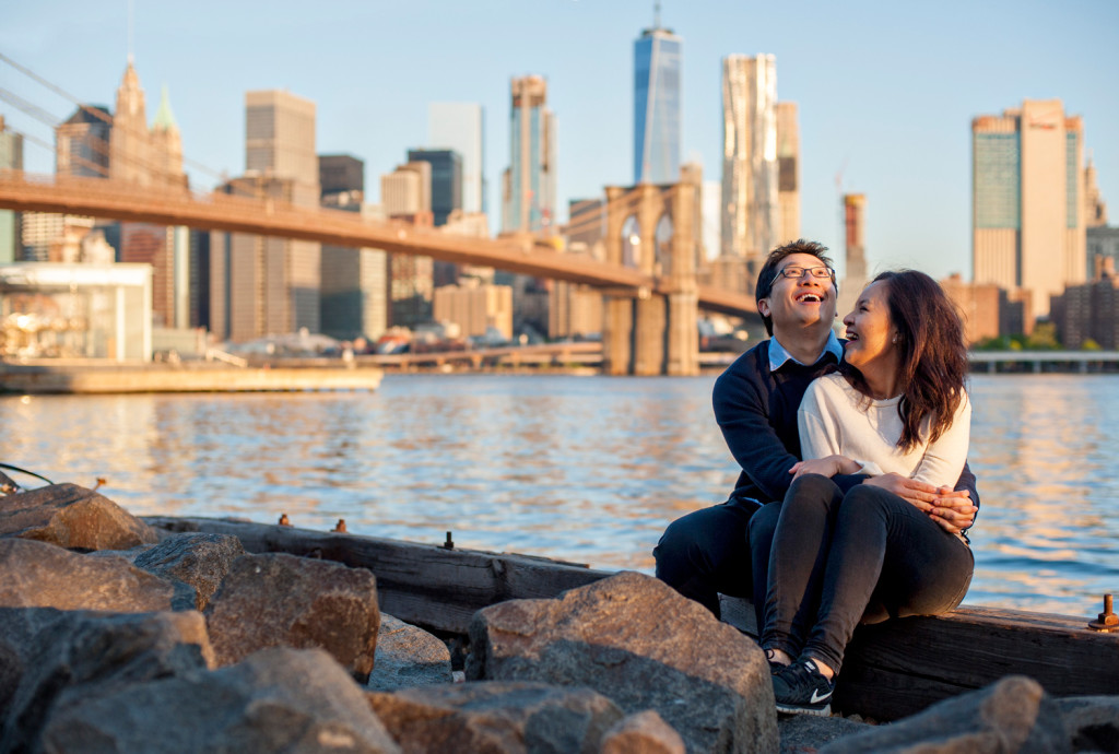 Sunrise Engagement Photos at Brooklyn Bridge Park